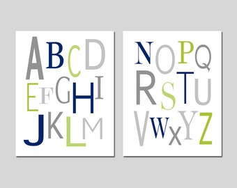 Modern Nursery Alphabet and Numbers Set Modern Nursery Decor ABCs 123s Modern Nursery Art Baby Boy - Set of 2 Prints - CHOOSE YOUR COLORS