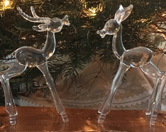TAKE 25% OFF & FREE shipping, Vintage Lucite Reindeer, Pair, Christmas, Holiday Decor, Deer, Use 25percentoff Coupon Code