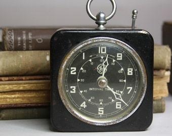 Vintage GE Xray Interval Timer- Industrial Clock- Black & White with Numbers- Vintage Medical Device