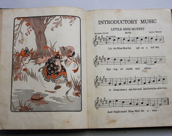 Vintage MUSIC BOOK- Children's Education Song Book- Introductory Music- Copyright 1923- Illustrations