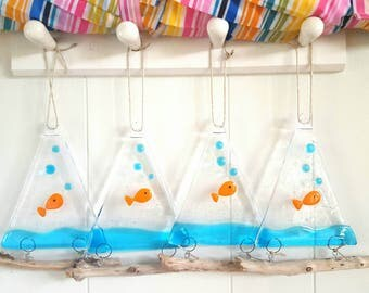 Fused glass goldfish suncatcher