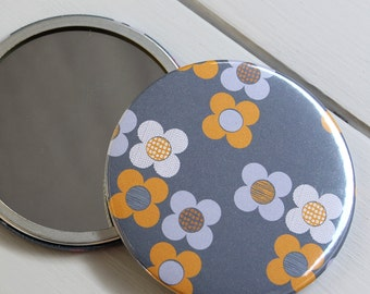 Yellow Large Pocket Mirror Mod Flower floral cosmetic make up