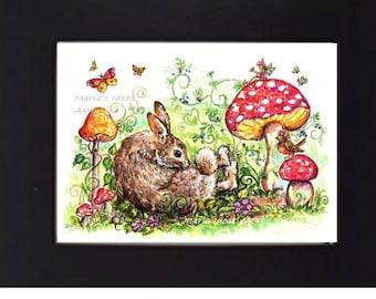 Bunny art, Rabbit art, Fairy garden art, mushroom art, nursery wall art, kids room art, whimsical animal art,