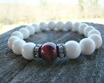 Bead Bracelet, Gemstone Bracelet, White, Beaded Bracelet, Stretch Bracelet, Bead Bracelet Womens, Summer Trends, Summer Jewelry, Beaded