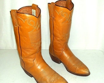 Cowboy Boots 8 D Nocona Mens Golden Yellow Tan Western Vintage Country Rocker