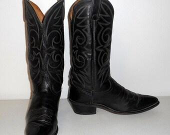 Mens 8 D Cowboy Boots Acme Brand Black Vintage Western Rockabilly Womens size 9.5
