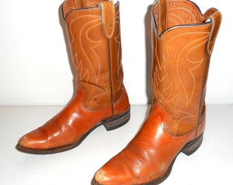 Texas Cowboy Boots Vintage Tan 5.5 D Country Western Rockabilly Shoes Distressed