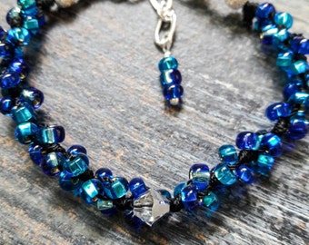 Let Your Light Shine Bright Bracelet - True Blue (Vibrant Blue Beads On Black Cord)