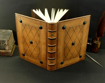 Brown Leather Journal, Tooled Decoration - Medieval Times