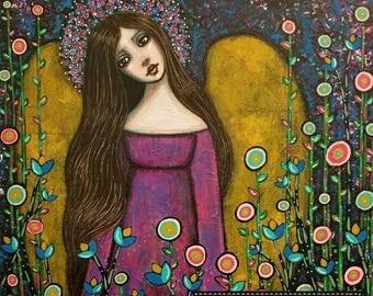 Original Mixed Media Angel Painting by Lisa Lectura