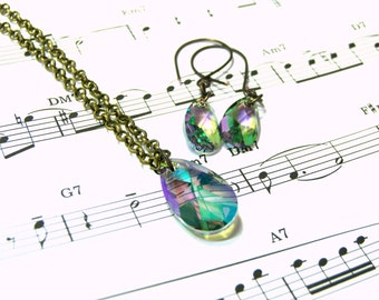 Swarovski Crystal Jewelry Set Rainbow Crystal Set Bohemian Jewelry Gifts for Women