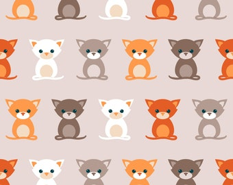 Cat Fabric - Cats On Grey By Heleenvanbuul - Cat Cotton Fabric By The Yard With Spoonflower