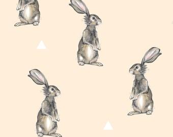 Peach Nursery Woodland Bunny Fabric - Rabbits + Triangles On Peach By Taraput - Bunny Cotton Fabric By The Yard With Spoonflower