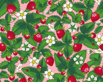 Pink Strawberry Fabric - Strawberry Field Of Joy *Pink By Juliesfabrics - Summer Strawberry Cotton Fabric By The Yard With Spoonflower