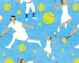 Tennis Fabric - Tennis Whites By Vinpauld - Athletic Summer Tennis Cotton Fabric By The Yard With Spoonflower