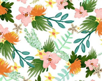 Tropical Floral Fabric - Coastline Floral By Shelbyallison - Modern Nursery Girl Floral Tropical Cotton Fabric By The Yard With Spoonflower