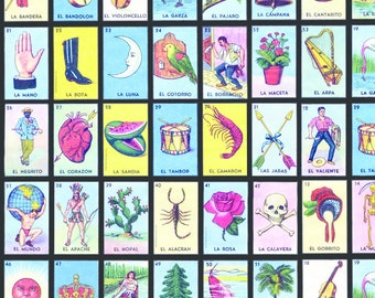Loteria Cards Fabric - Loteria Small On Black By Jellymania - Tarot Lottery Cards Cotton Fabric By The Yard With Spoonflower