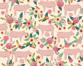 Pig Fabric - Pigs And Florals Farmyard Animals Farm - Cream By Petfriendly - Rustic Farmhouse Cotton Fabric By The Yard With Spoonflower