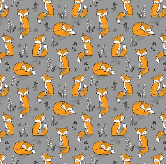 Modern nursery fabric dreamy fox on grey by caja design for Grey nursery fabric