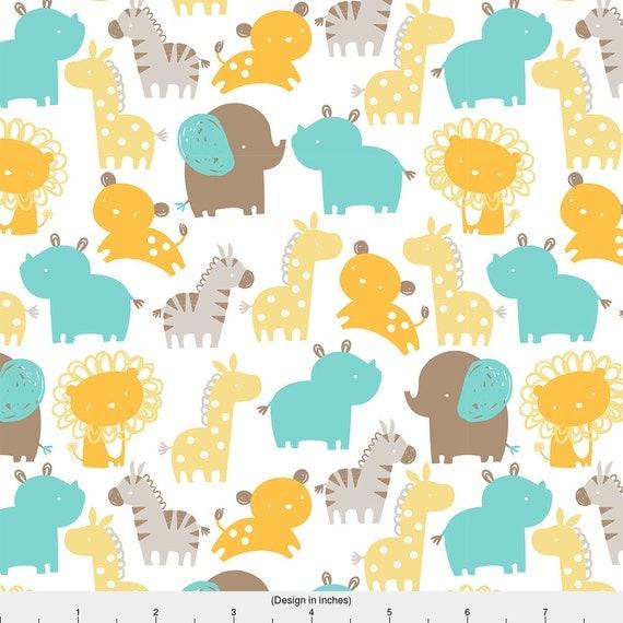 Nursery zoo animal fabric baby safari by lizmytinger for Safari fabric for nursery
