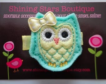 Owl Felt Hair Clip - Hair Accessories - Mint Green & Light Yellow Embroidered Felt Woodland Or Forest Spring Owl Hair Clippie For Girls