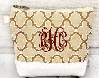 natural gold and WHITE cosmetic bag , bridesmaid make-up bags, monogrammed bag, wedding bag , bridesmaid gifts
