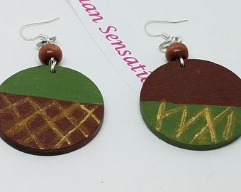 Hsndpainted Wood  Earrings  Nubian Sensations Afrocentric