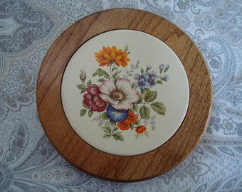 Pretty Country Wood and Ceramic Trivet, Flowers, Floral Trivet, Wooden Trivet, Three Mountaineers, Sturdy, Hand Crafted, 1970s