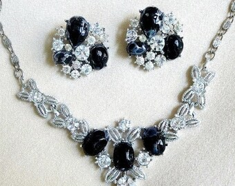 Necklace and Earrings Set Black Lucite & Clear Rhinestone Vintage