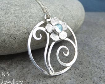 Blue Topaz Flower & Swirls Circle Sterling Silver Pendant - Handmade Metalwork Wirework Gemstone Necklace - Garden Themed Collection
