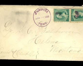 1888 Springfield Tennessee April 19 Doctor Helena Montana US Stamp Cover R85