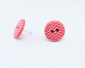 Chevron Post Round Stud Earrings