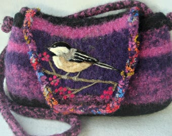 Felted Purse, Felted Handbag, Chickadee Art, Bird Art, Purple purse