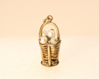 Vintage 12k Gold Basket Charm with Pearls Charm 1940s Pendant Charm