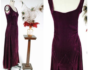 Vintage 1930s Dress - Glamorous Old Hollywood Purple Ombre Velvet Early 30s Gown with Deco Seams and Ruching