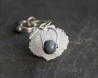 ON SALE Enamel Earrings - Grey Blue, Vitreous Glass Enamel, Pendulum Drop Earrings, Sterling Silver Rivet, Boho Metalwork Jewellery