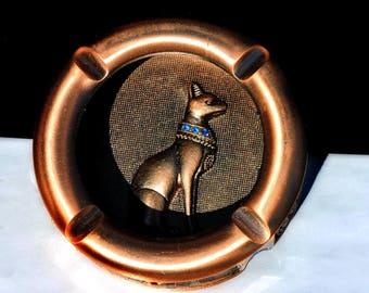 Vintage Bastet Egyptian Revival Hand Crafted Artisan Ashtray Trinket Holder Copper Finish Rhinestone Accent