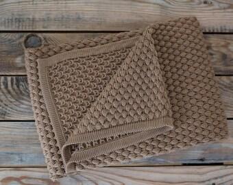 Brown Stroller Blanket | Newborn Blanket | Handmade Afghans | Hand Knitted Throw | Brown Crib Bedding | Baby Afghan | Large Baby Blanket