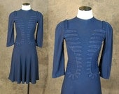 vintage 40s Embroidered Dress - 1940s Soutache Front Dress - Navy Blue Cocktail Dress Sz XS