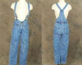 48 Hr Sale vintage 80s Jean Overalls Light Denim Jumpsuit - 1980s Suspender Jeans Sz XS S