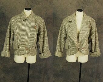 vintage 80s Cocoon Coat - 1980s Avant Garde Khaki Herringbone Wool Coat Dolman Sleeve Coat Sz M L