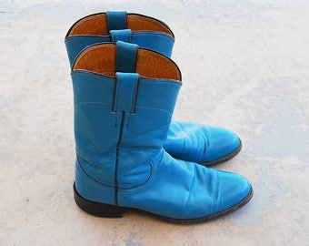 vintage 1980s Cowgirl Boots - 80s Turquoise Blue Leather Boots - Womens Justin Cowboy Boots Sz 7 38