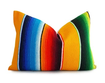 Mexican Pillow Covers, Colorful Serape Pillows, Unique Throw Pillows, Bold Bohemian Pillow, 14x20 Striped Lumbar Pillow, Summer Pillows