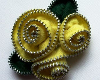 Yellow Abstract Floral Brooch / Zipper Pin by ZipPinning 2535