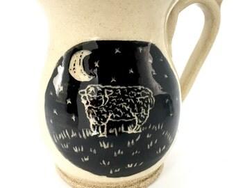 SALE 25% OFF - Gift for her - Coffee Mug - Gift for Wife - handmade - Housewarming Gift - rustic - sheep mug - ceramic mug - hand painted