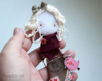Valentine's gift for girl, Art Doll Brooch, Young Girl with bird, mixed media collage