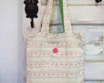Pink Striped Linen Market Bag The Wild Raspberry