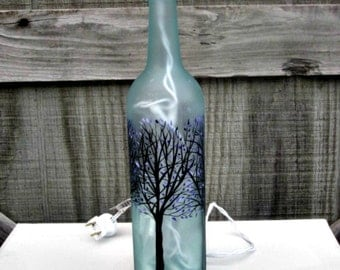 Wine Bottle Light, Night Light, Hand Painted Wine Bottle, Trees with Purple Leaves, Frosted Bottle