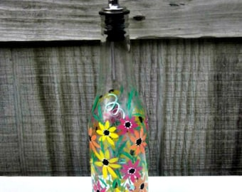 Dish Soap Dispenser,  Recycled Clear Beer Bottle, Painted Glass, Oil and Vinegar Bottle, Peach, Yellow, and Berry Flowers