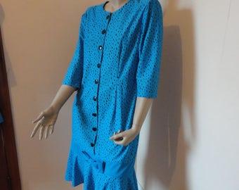1970's Plus Size Blue Dress with Dots Sz 14